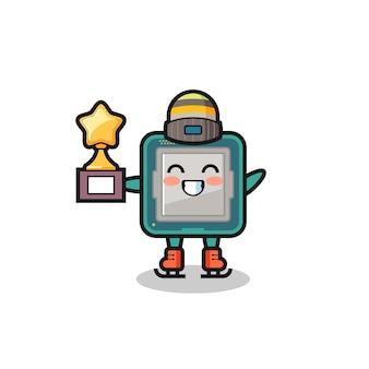 Il fumetto del processore come un giocatore di pattinaggio sul ghiaccio tiene il trofeo del vincitore, un design carino in stile per t-shirt, adesivo, elemento logo