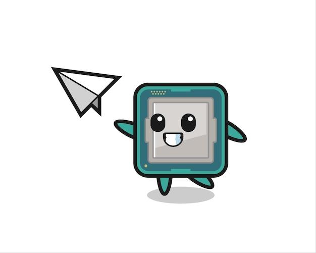Personaggio dei cartoni animati del processore che lancia aeroplano di carta, design in stile carino per maglietta, adesivo, elemento logo,
