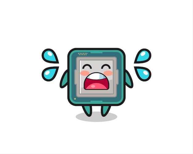 Illustrazione del fumetto del processore con gesto di pianto, design in stile carino per maglietta, adesivo, elemento logo