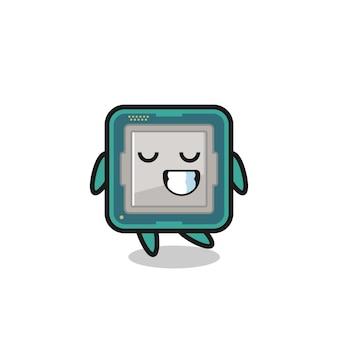 Illustrazione del fumetto del processore con un'espressione timida, design in stile carino per maglietta, adesivo, elemento logo
