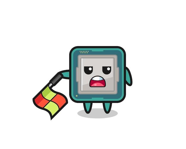 Il personaggio del processore come giudice di linea tiene la bandiera abbassata con un angolo di 45 gradi, design in stile carino per maglietta, adesivo, elemento logo