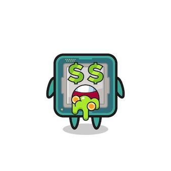 Personaggio del processore con un'espressione di pazzia per i soldi, design in stile carino per maglietta, adesivo, elemento logo