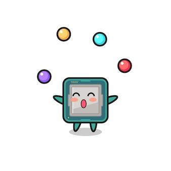 Il cartone animato del circo del processore che si destreggia con una palla, un design in stile carino per maglietta, adesivo, elemento logo