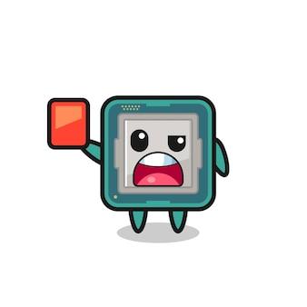 Simpatica mascotte del processore come arbitro che dà un cartellino rosso, un design in stile carino per maglietta, adesivo, elemento logo