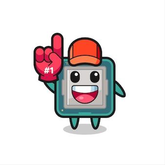 Cartone animato illustrazione processore con guanto numero 1 fan, design in stile carino per t-shirt, adesivo, elemento logo