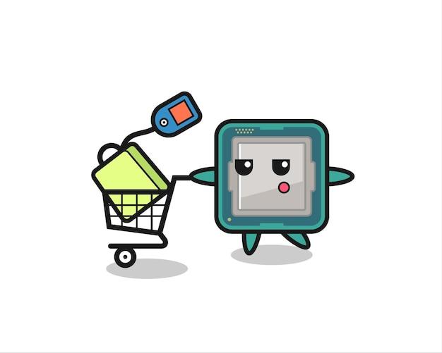 Fumetto dell'illustrazione del processore con un carrello della spesa, design in stile carino per maglietta, adesivo, elemento logo