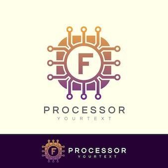Processore iniziale lettera f logo design