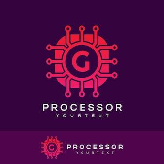 Processore iniziale lettera g logo design
