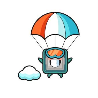 Il fumetto della mascotte del processore sta facendo paracadutismo con un gesto felice, un design in stile carino per maglietta, adesivo, elemento logo