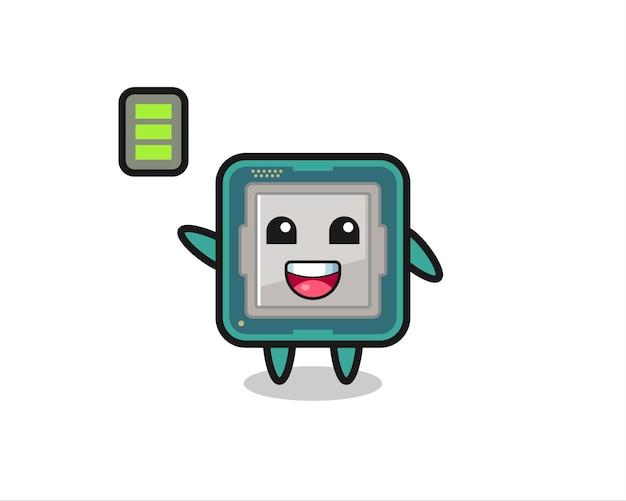 Personaggio mascotte del processore con gesto energico, design in stile carino per maglietta, adesivo, elemento logo