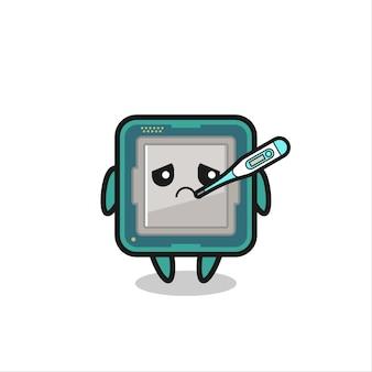 Personaggio mascotte del processore con febbre, design in stile carino per maglietta, adesivo, elemento logo