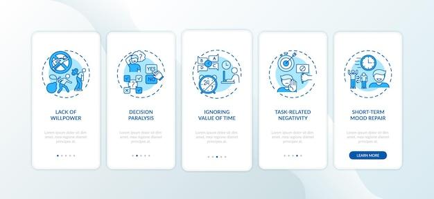 La procrastinazione provoca l'onboarding della schermata della pagina dell'app mobile con concetti