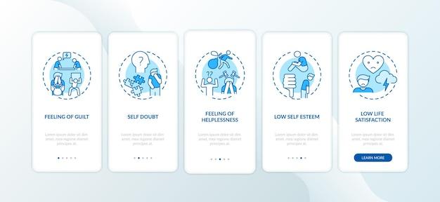 Effetti di procrastinazione nella schermata della pagina dell'app mobile con concetti