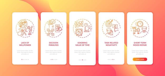 Motivi di procrastinazione onboarding schermata della pagina dell'app mobile con illustrazione dei concetti