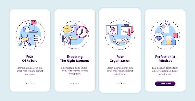 Motivi di procrastinazione per l'onboarding della schermata della pagina dell'app mobile con illustrazioni di concetti