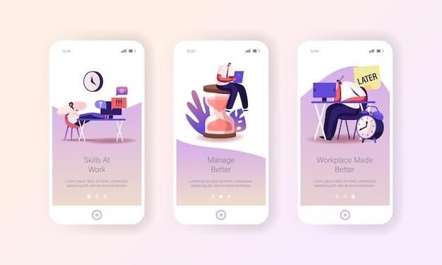 Modello di schermate della pagina dell'app mobile di procrastinazione, processo aziendale di gestione del tempo.