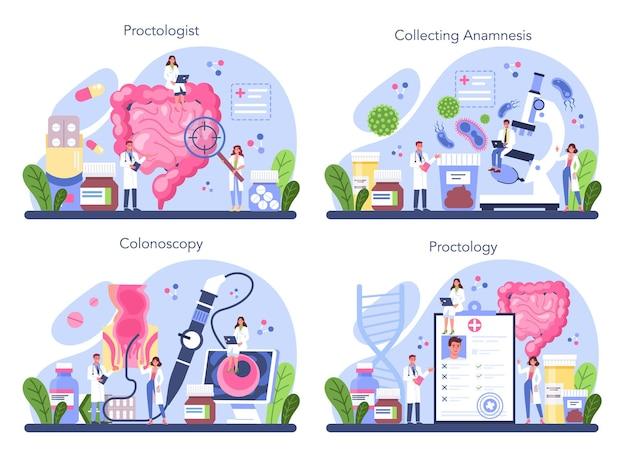 Insieme di concetto del proctologo. il dottore esamina l'intestino.