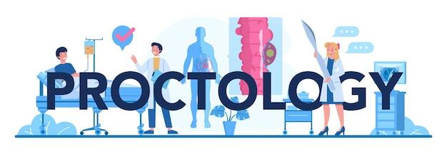 Illustrazione di intestazione tipografica proctologia in stile cartone animato