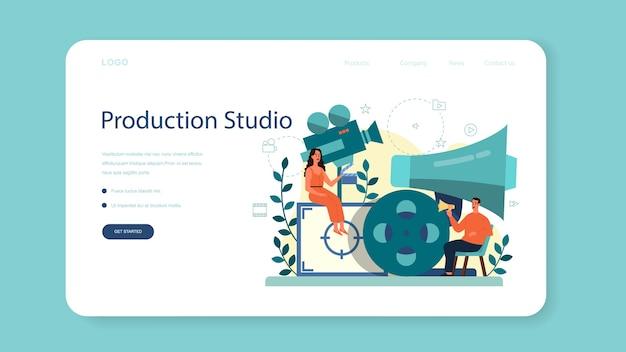 Banner web o pagina di destinazione del produttore. produzione di film e musica. idea di persone creative e professione. attrezzatura da studio.