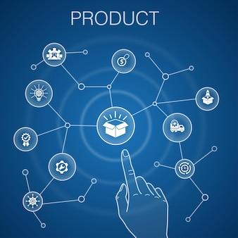 Concetto di prodotto, sfondo blu. prezzo, qualità, consegna, icone di sviluppo