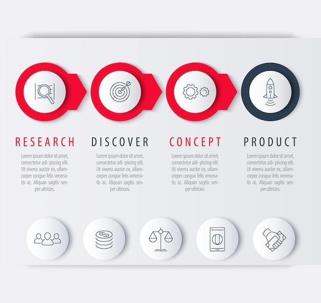 Sviluppo del prodotto, elementi infografici, etichette di passaggio, icone di linea, vettore