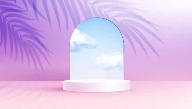 Podio di visualizzazione del prodotto decorato con una nuvola realistica nella cornice dell'arco di vetro su sfondo pastello di colore estivo con ombra di foglie di palma sovrapposte