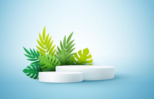 Podio espositore prodotto decorato con foglie di palma tropicale