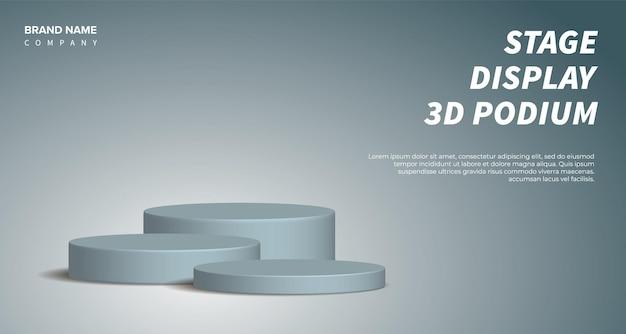 Visualizzazione del prodotto vettoriale 3d rendering grigio con podio. sfondo astratto con piattaforma scenica geometrica in colori pastello. concetto di affari