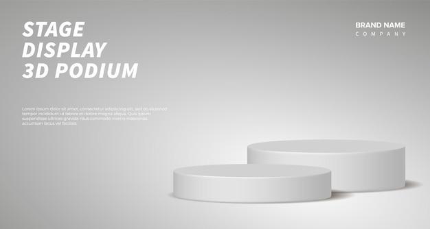Rendering 3d di vettore di visualizzazione del prodotto con podio grigio. sfondo astratto con piattaforma scenica geometrica in colori pastello. concetto di affari