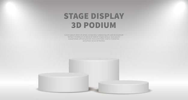 Rendering 3d di vettore di visualizzazione del prodotto con podio bianco. sfondo astratto bianco con piattaforma di fase geometrica. concetto di affari