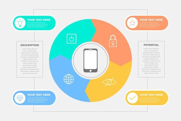 Infografica del prodotto in design piatto