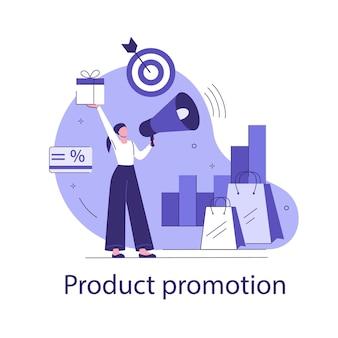 Promozione del prodotto. concetto di affari di vettore in stile piano.