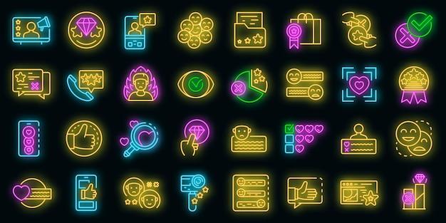 Set di icone di recensione del prodotto. delineare l'insieme delle icone vettoriali di revisione del prodotto colore neon su nero