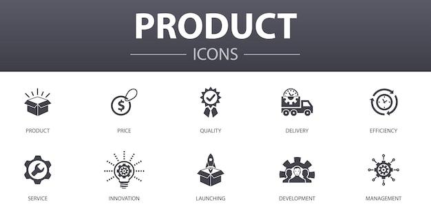 Set di icone di concetto semplice prodotto. contiene icone come prezzo, qualità, consegna, sviluppo e altro, può essere utilizzato per web, logo, ui/ux