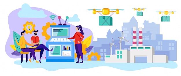 Linea di produzione. drone trasporta merci. consegna.