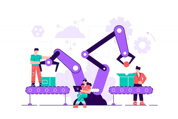 Una linea di produzione con lavoratori, automazione e concetto di interfaccia utente: l'utente si collega con un tablet e condivide i dati con un sistema cyber-fisico, smart industry 4.0. illustrazione vettoriale di stile piano