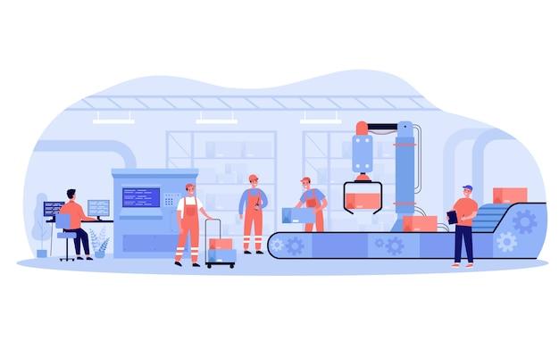 Processo di produzione in fabbrica. operai e robot che rimuovono scatole dal nastro trasportatore. ingegnere al sistema di controllo del computer. illustrazione per l'industria, l'automazione, i concetti di tecnologia delle macchine