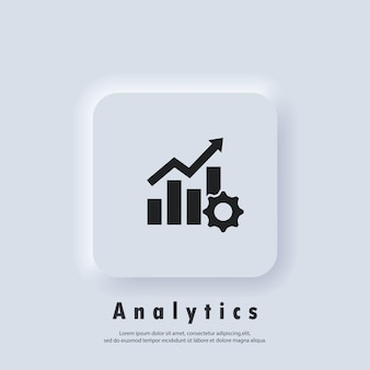 Icona di produttività. ingranaggio ingranaggio con grafico in crescita. logo di analisi. vettore. pulsante web dell'interfaccia utente bianco neumorphic ui ux. neumorfismo