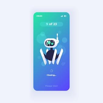 Modello di vettore dell'interfaccia dello smartphone dell'applicazione che aumenta la produttività. layout di progettazione del tema della luce della pagina dell'app mobile. schermata del processo di ottimizzazione della memoria. interfaccia utente piatta per l'applicazione. display del telefono