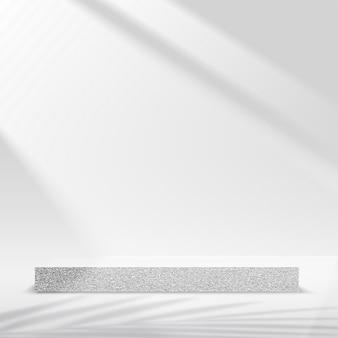 I prodotti mostrano una scena del podio di sfondo 3d con una piattaforma geometrica di forma grigia. illustrazione vettoriale.