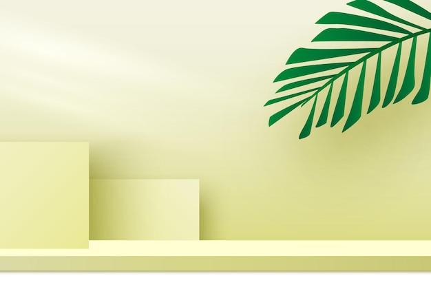 Piattaforma espositiva prodotti podio vuoto con foglie di palma fase di rendering 3d piedistallo