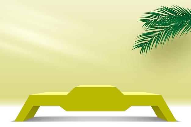 Piattaforma di visualizzazione dei prodotti podio giallo vuoto con piedistallo di foglie di palma 3d render stage