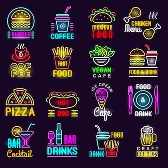 Prodotti neon. emblema di illuminazione di fast food per pubblicità di bevande per pizza da bar.