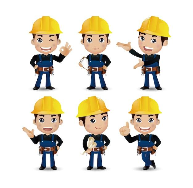 Professione - costruttore. lavoratore. ingegnere con pose diverse