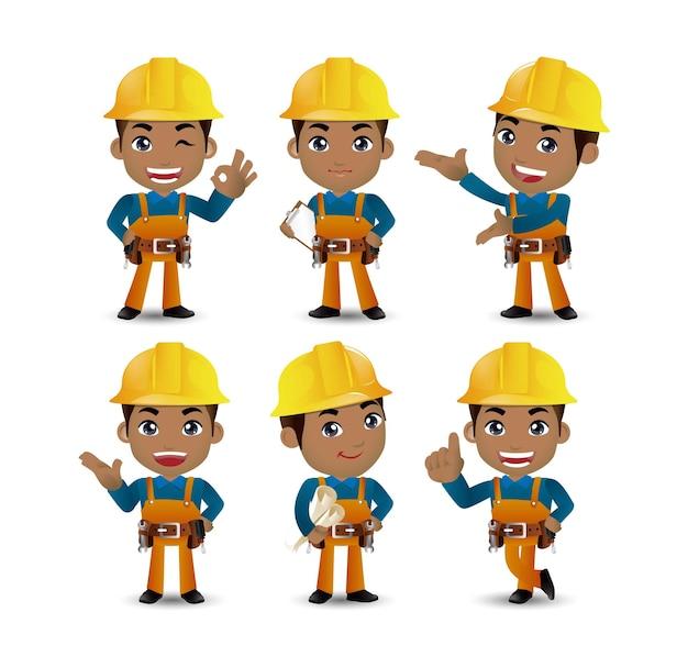 Ingegnere operaio costruttore di professione con diverse pose