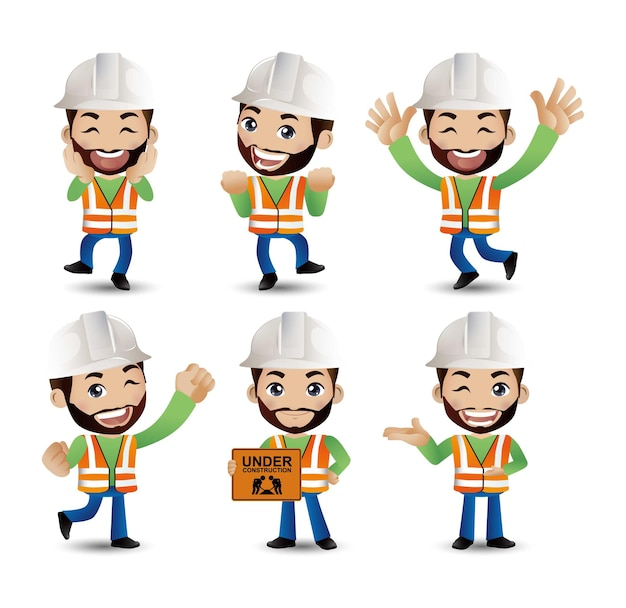 Ingegnere lavoratore costruttore di professione con diverse pose