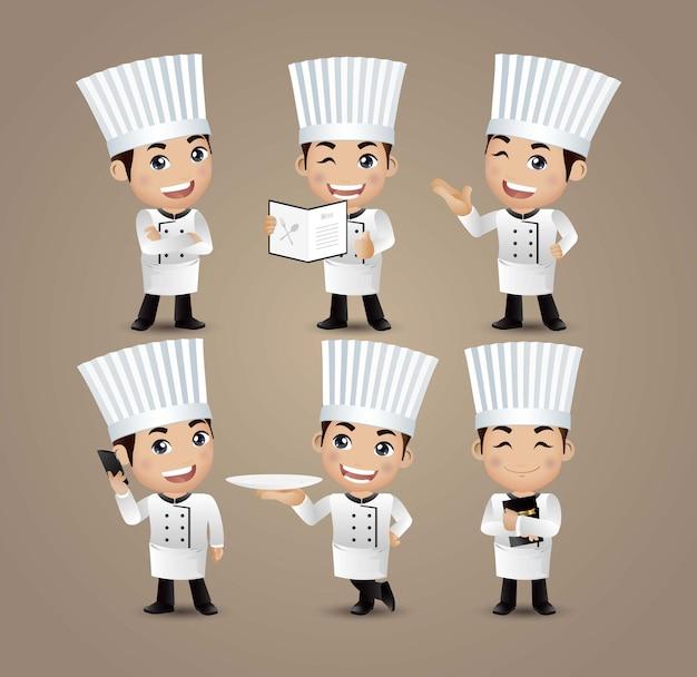 Chef di professione con pose diverse