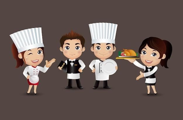 Chef di professione con diverse pose