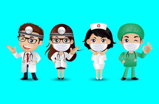 Medico di professione con diverse pose