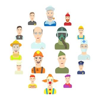 Set di icone di professione, stile piano
